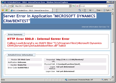 crm internal server error