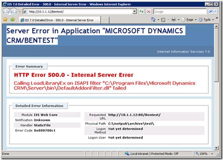 crm internal server error
