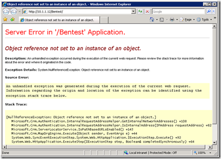 crm.authenication error