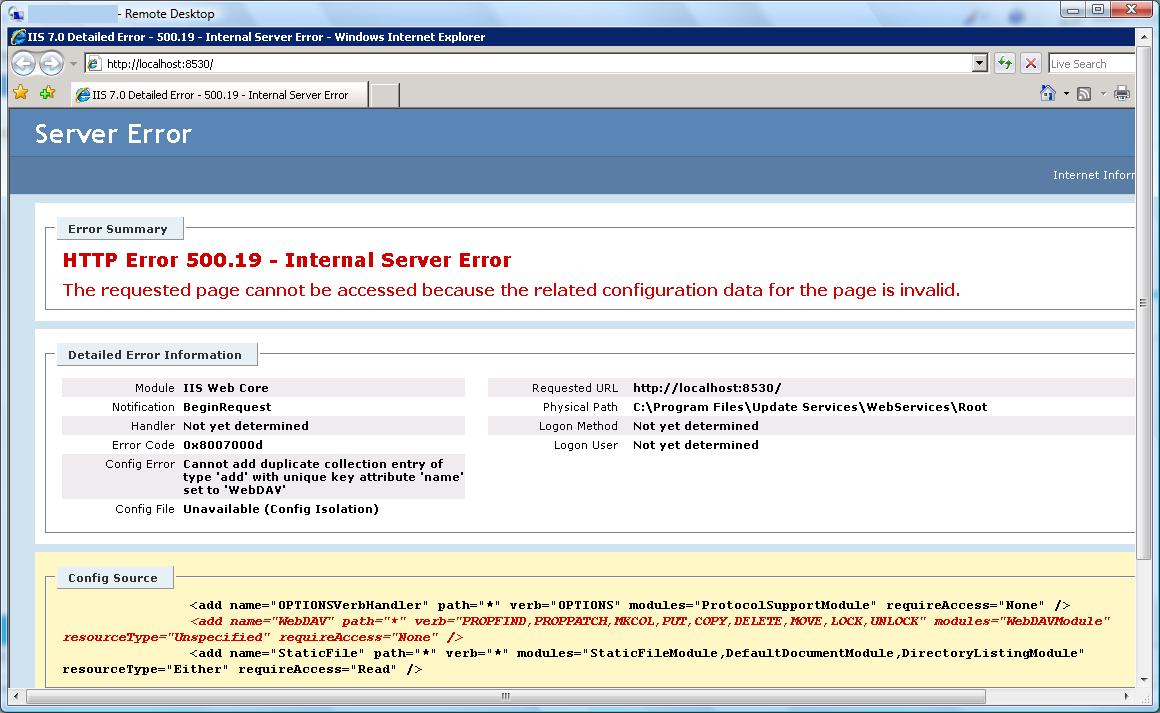 WSUS, SCCM & Server 2008 WebDAV error | Bibble-IT com