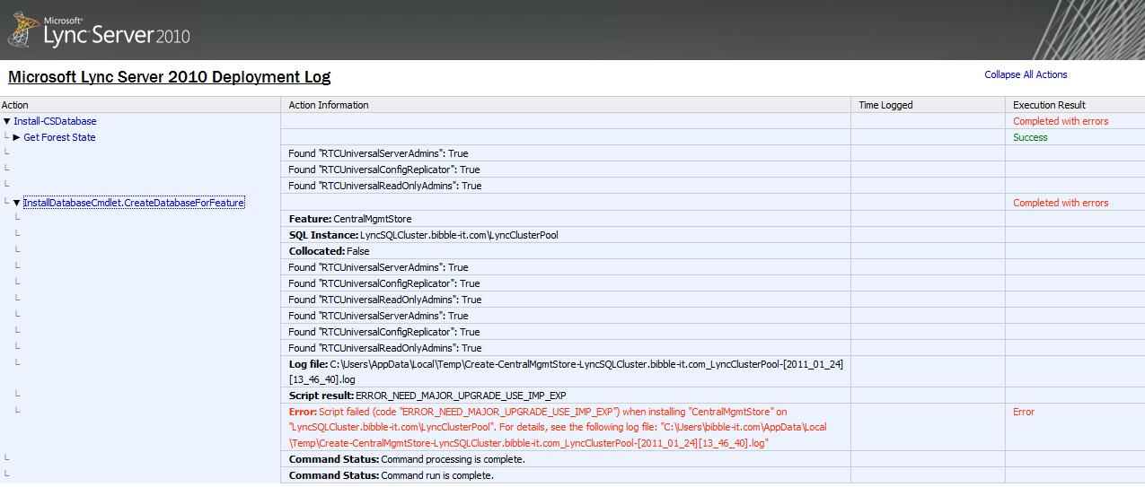 Lync database creation error during topology publishing